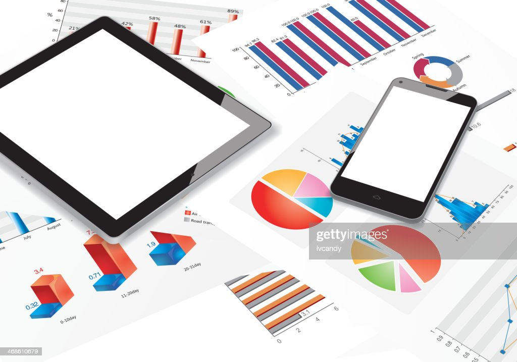 Tablet-cellphone-chart : stock illustration
