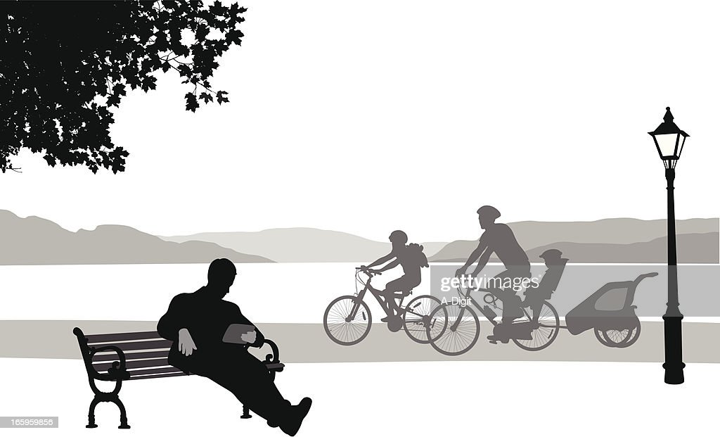 Tablet'n Cycling Vector Silhouette : stock illustration