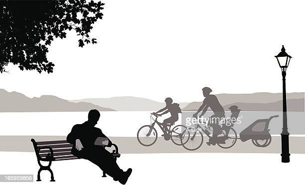 tablet'n cycling vector silhouette - family cycling stock illustrations, clip art, cartoons, & icons