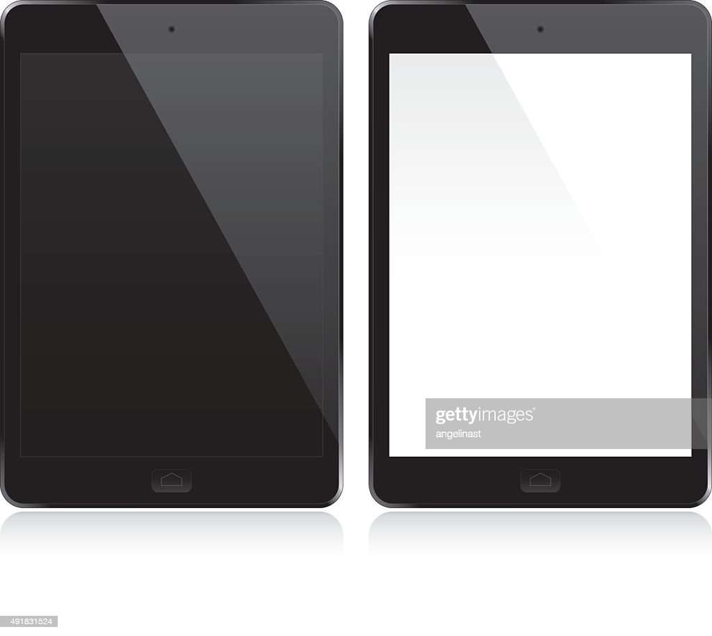 Tablets set with white and black screen