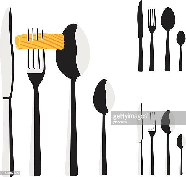 tableware - macaroni stock illustrations, clip art, cartoons, & icons