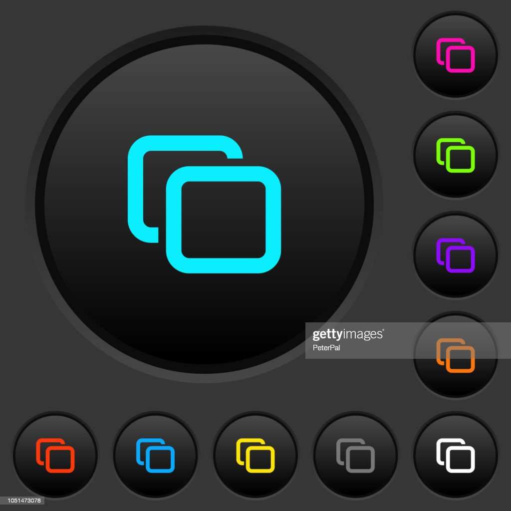 Tabs dark push buttons with color icons