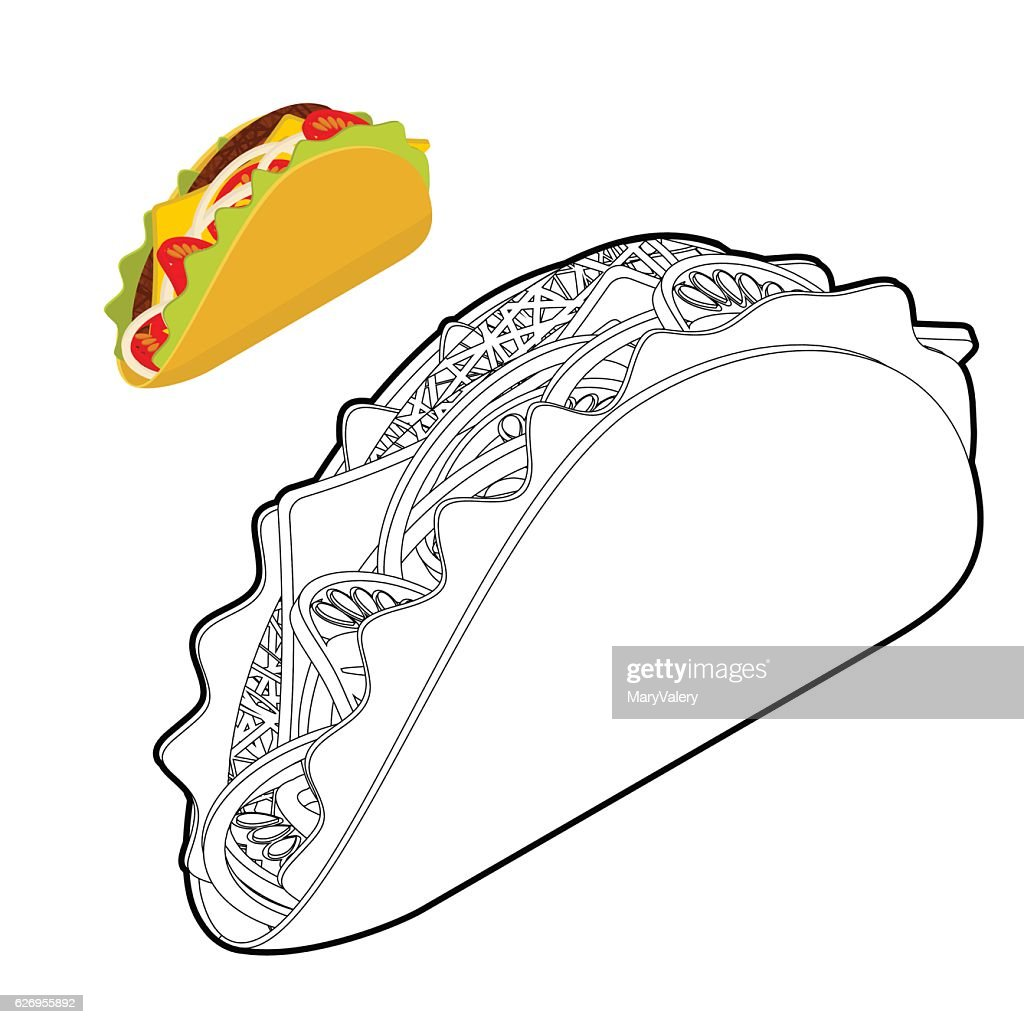 Taco coloring book. Traditional Mexican food in linear style. To