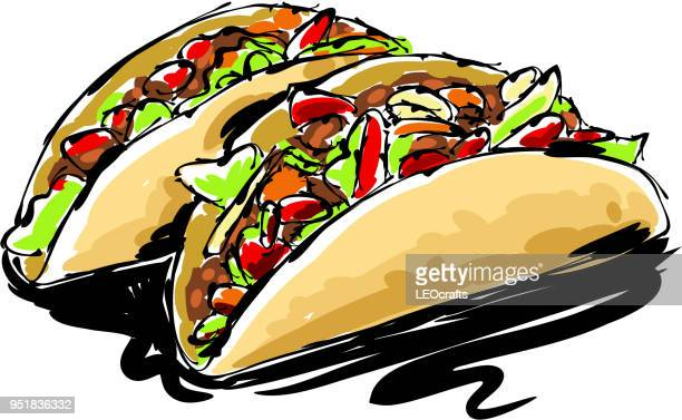 taco drawing - mexican food stock illustrations, clip art, cartoons, & icons