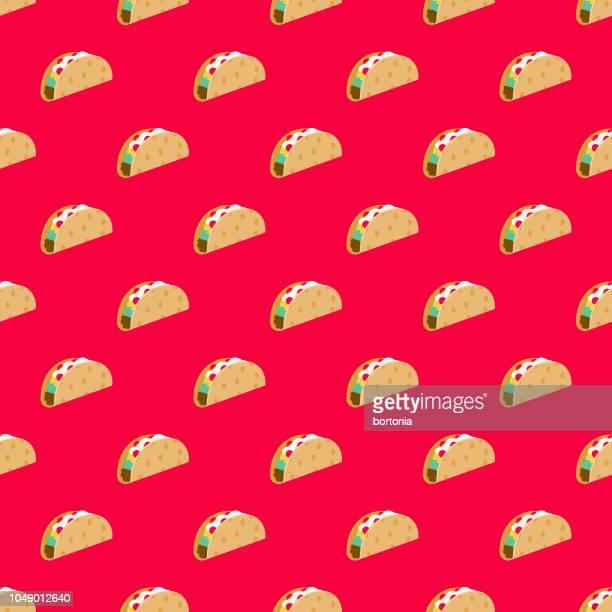 ilustrações de stock, clip art, desenhos animados e ícones de taco fast food seamless pattern - comida mexicana