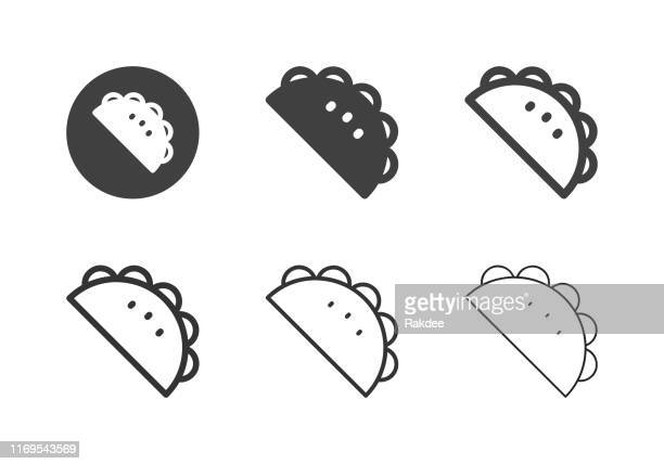 taco icons - multi series - ground beef stock illustrations