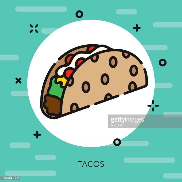 ilustrações, clipart, desenhos animados e ícones de ícone de cinco de mayo de contorno aberto taco - comida mexicana