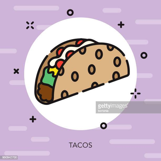 taco open outline street food icon - ground beef stock illustrations