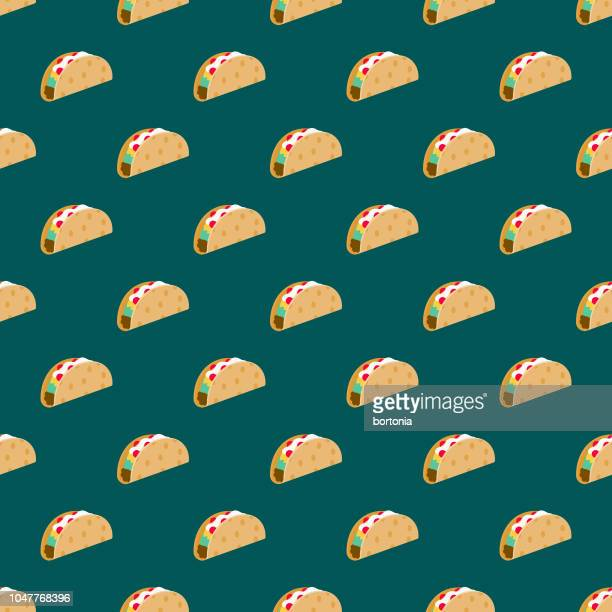 taco street food seamless pattern - mexican food stock illustrations, clip art, cartoons, & icons