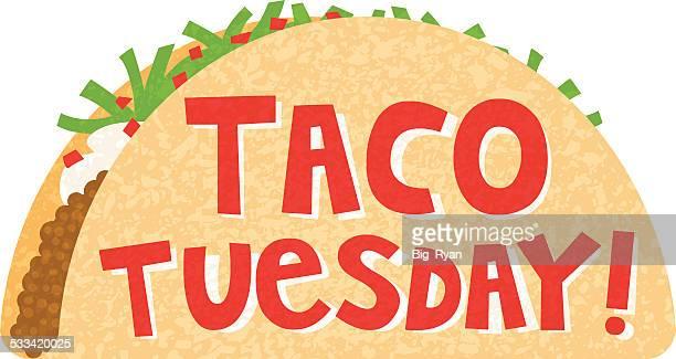 taco tuesday - tuesday stock illustrations