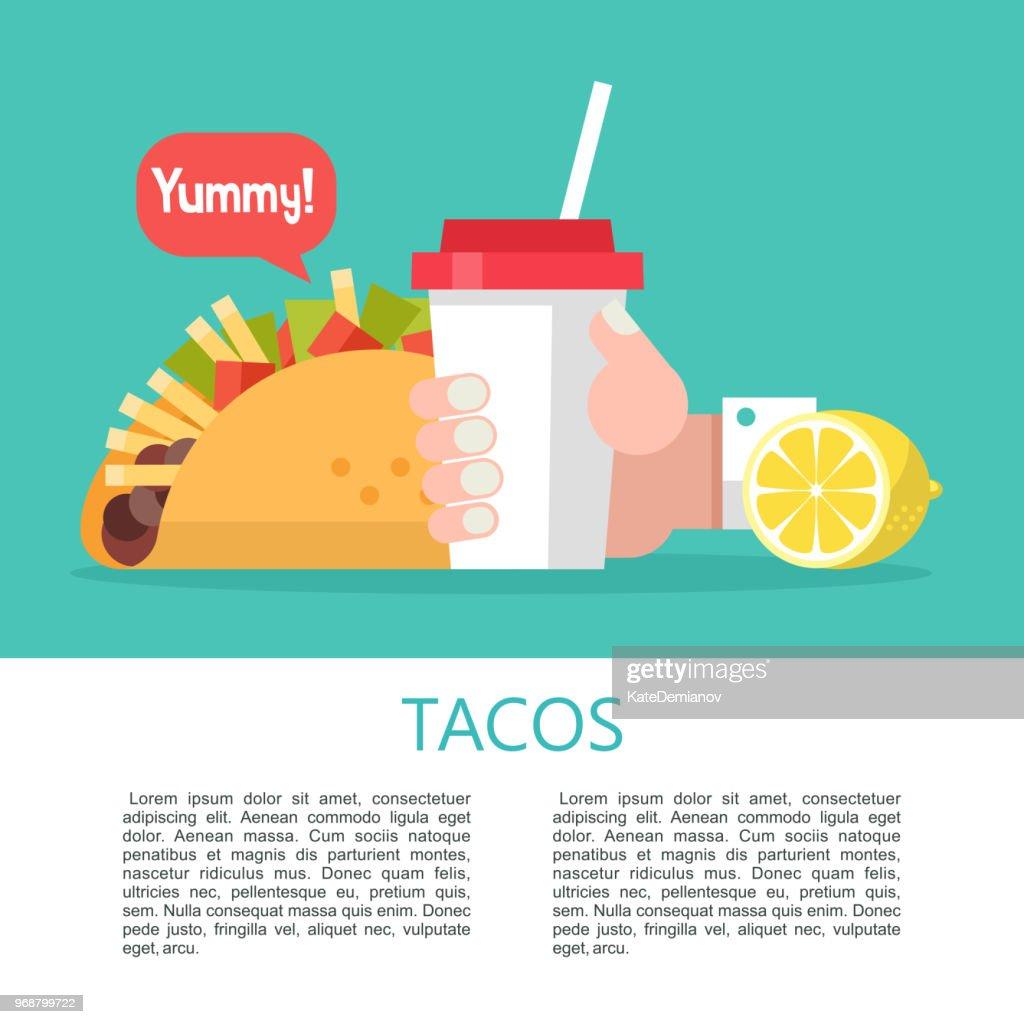 Tacos. Delicious Mexican fast food in corn tortillas.  Vector illustration.