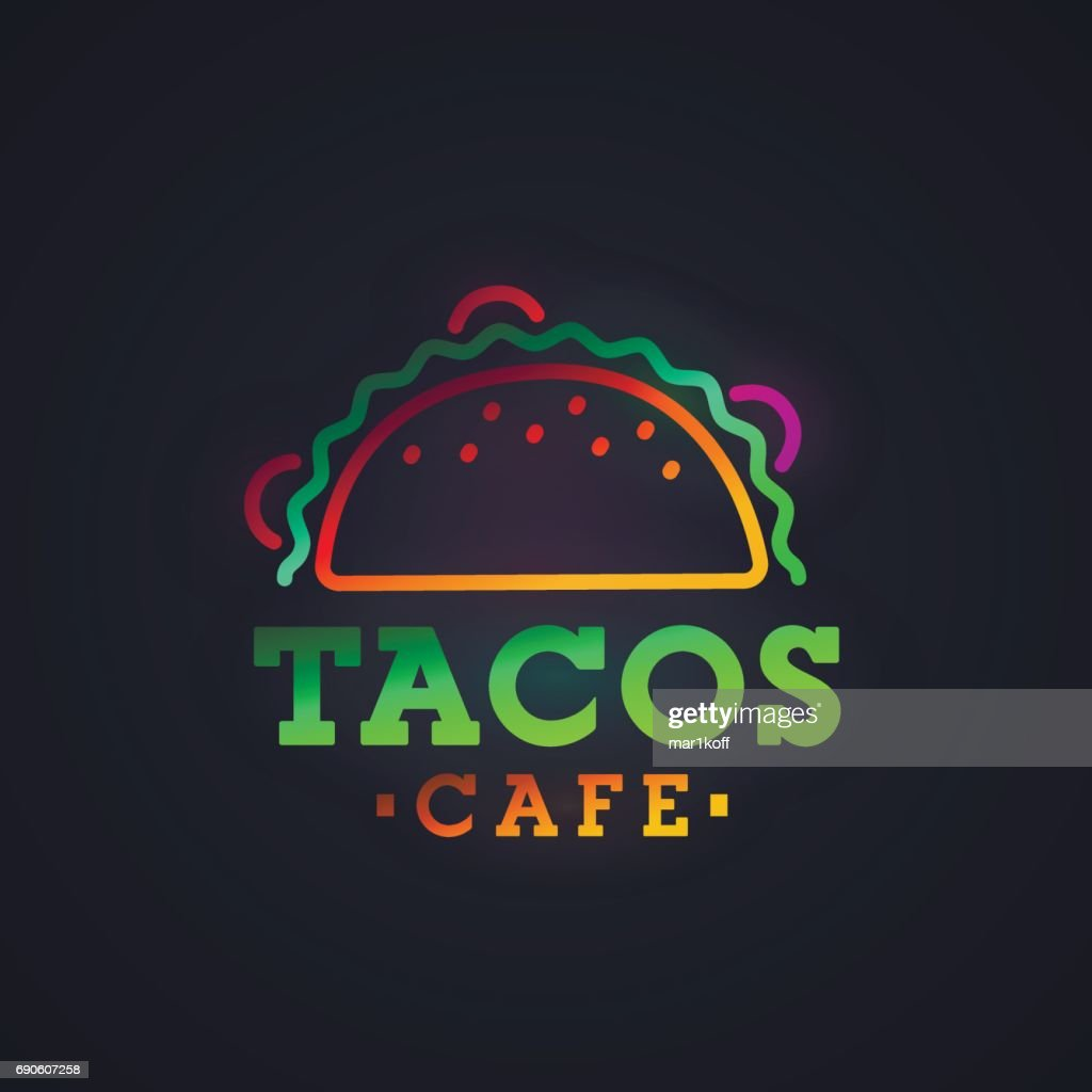 Tacos neon sign, bright signboard, light banner. Tacos symbol, emblem