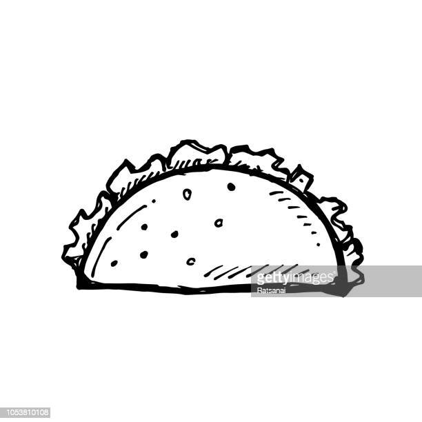 tacos - tortilla flatbread stock illustrations