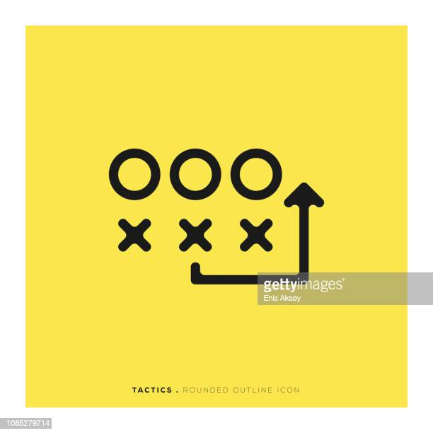 tactics rounded line icon - soccer stock illustrations