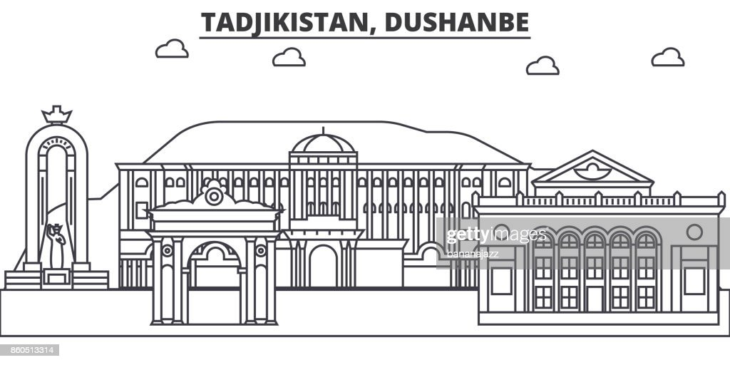 Tadjikistan, Dushanbe architecture line skyline illustration. Linear vector cityscape with famous landmarks, city sights, design icons. Landscape wtih editable strokes