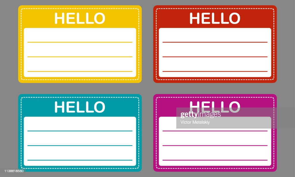 Tag badge holder or name introduction label. Vector Illustration. Colorful name tag set.