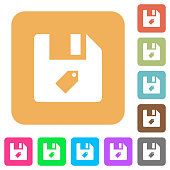 Tag file rounded square flat icons