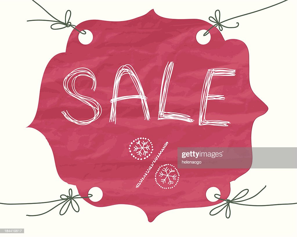 Tag made ​​of paper showing discounts on goods