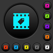 Tag movie dark push buttons with color icons