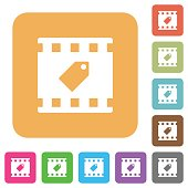 Tag movie rounded square flat icons