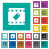 Tag movie square flat multi colored icons