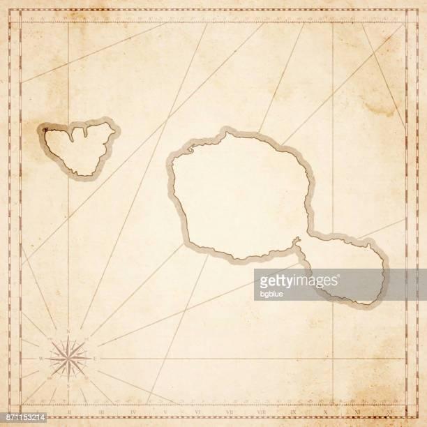 レトロなビンテージ スタイルの古い紙のタヒチ地図 - タヒチ点のイラスト素材/クリップアート素材/マンガ素材/アイコン素材