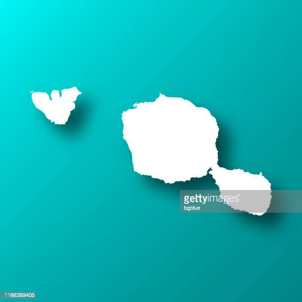 tahiti french polynesia map on blue green background with shadow - french overseas territory stock illustrations