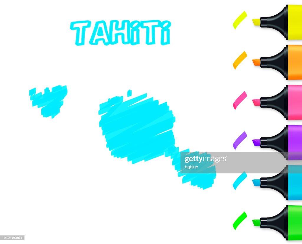 Tahiti Polynesia Map Hand Drawn White Background Blue Highlighter ...