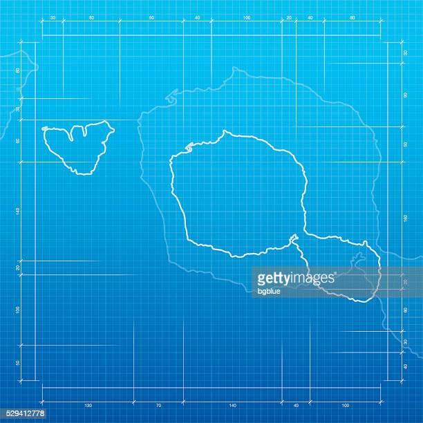 Tahiti Polynesia Map On Blueprint Background stock ...