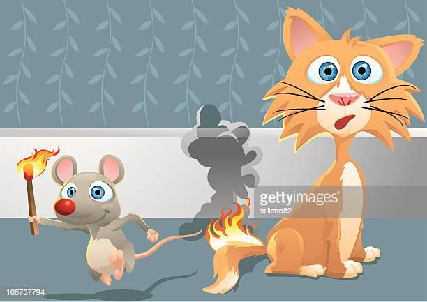illustrations, cliparts, dessins animés et icônes de queue de feu - chat humour