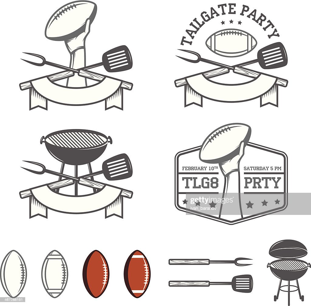 Tailgate party design elements set