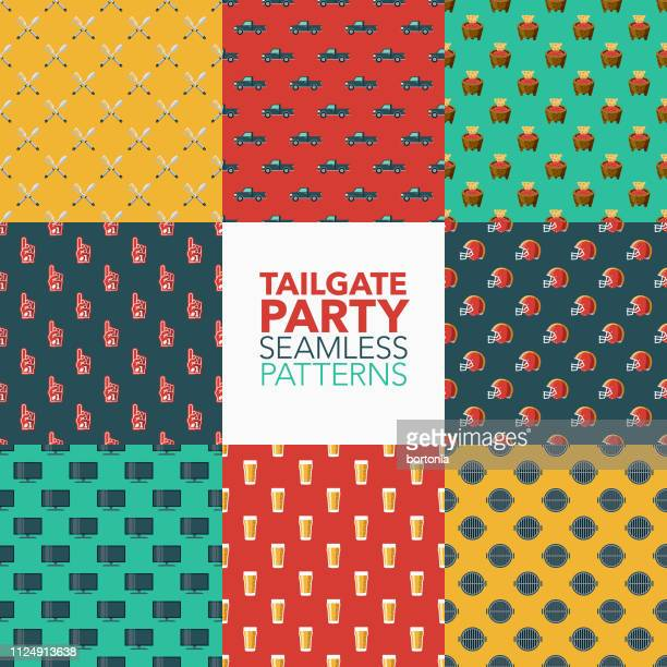 tailgate party seamless patterns - dipping stock illustrations, clip art, cartoons, & icons