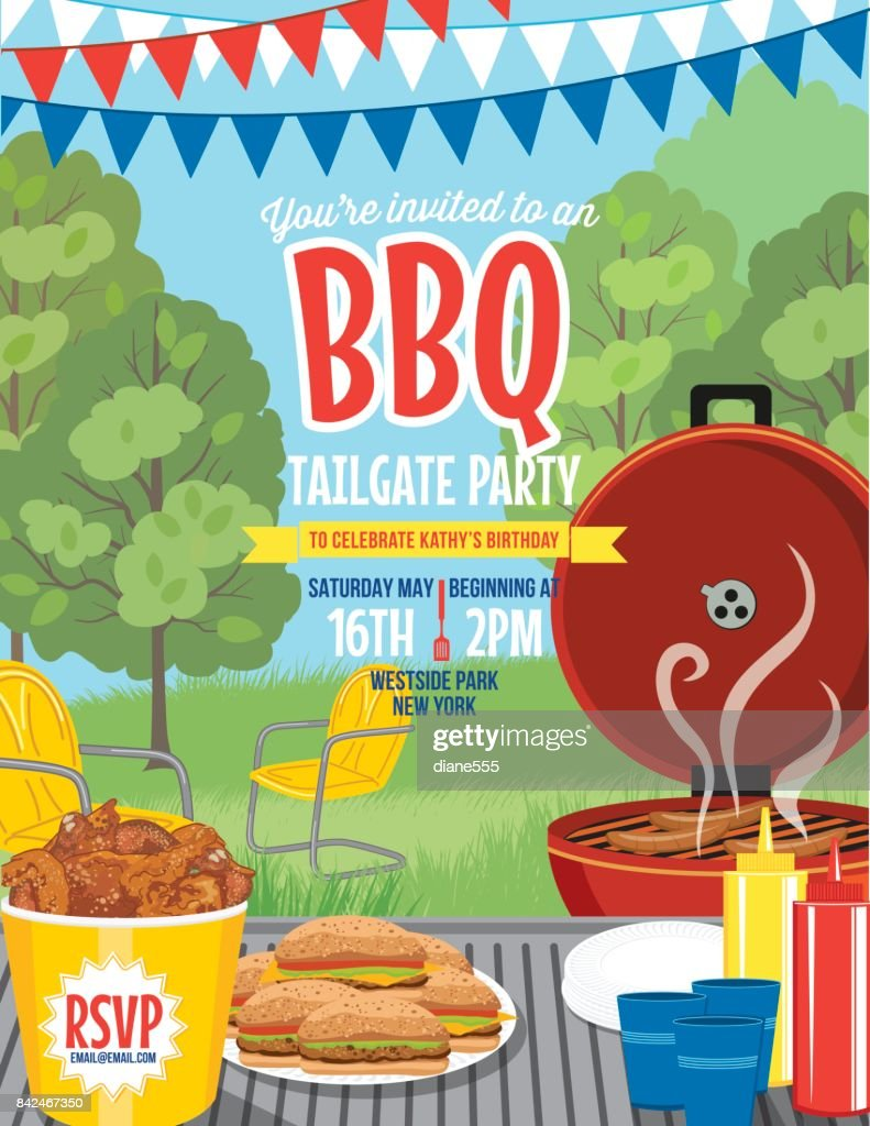 Tailgate Party Summer BBQ Invitation Template