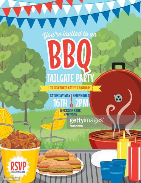 tailgate party summer bbq invitation template - tailgate party stock illustrations