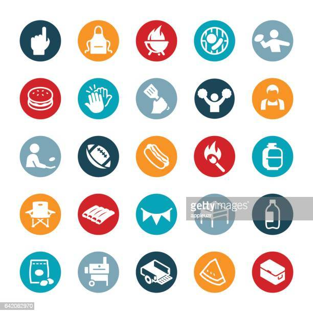 tailgating icons - drive ball sports stock illustrations, clip art, cartoons, & icons