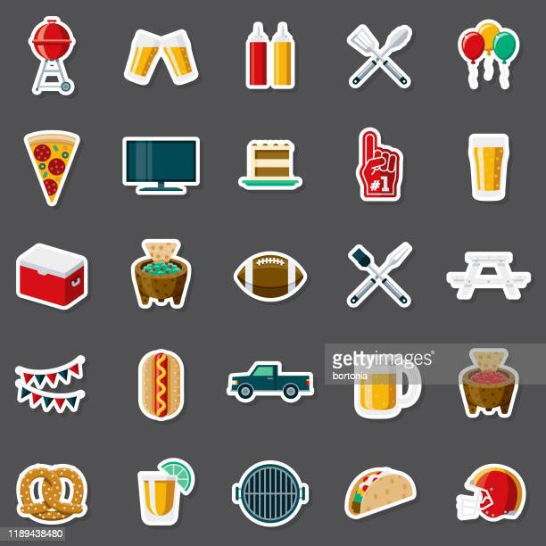 tailgating party sticker set - american football ball stock illustrations