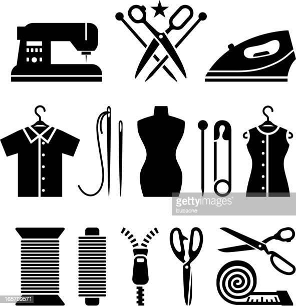 tailor and garment industry black & white vector icon set - sewing machine stock illustrations, clip art, cartoons, & icons