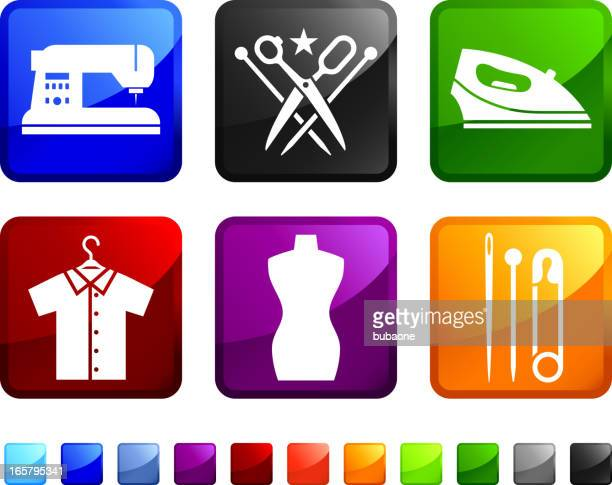 Tailor and Sewing royalty free vector icon set stickers