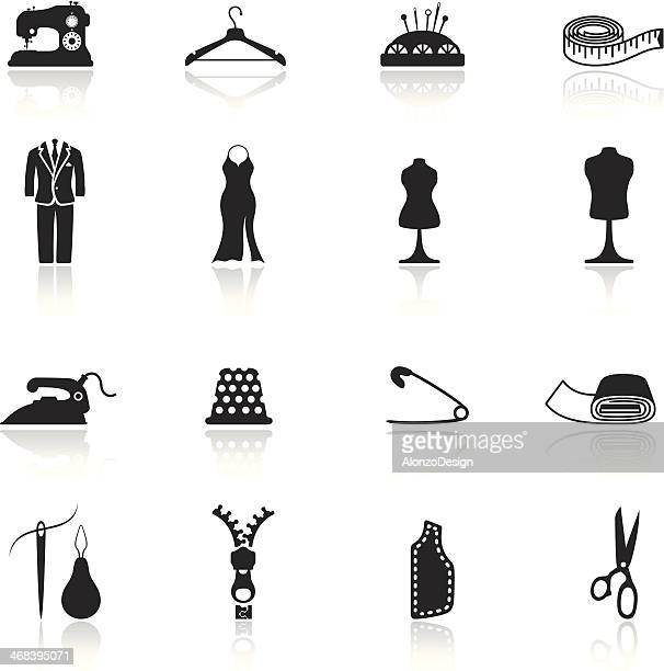 tailor icon set - mannequin stock illustrations, clip art, cartoons, & icons