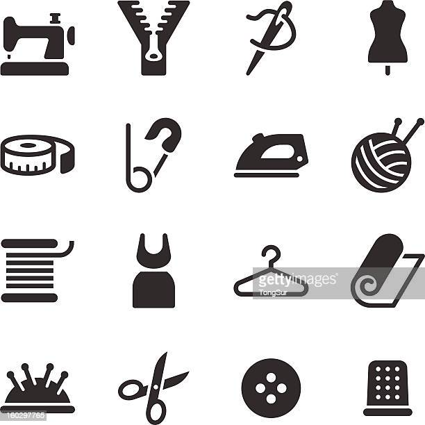 tailor icons - textile industry stock illustrations