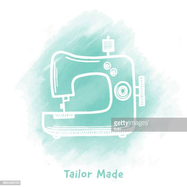 tailor made doodle watercolor background - sewing machine stock illustrations, clip art, cartoons, & icons