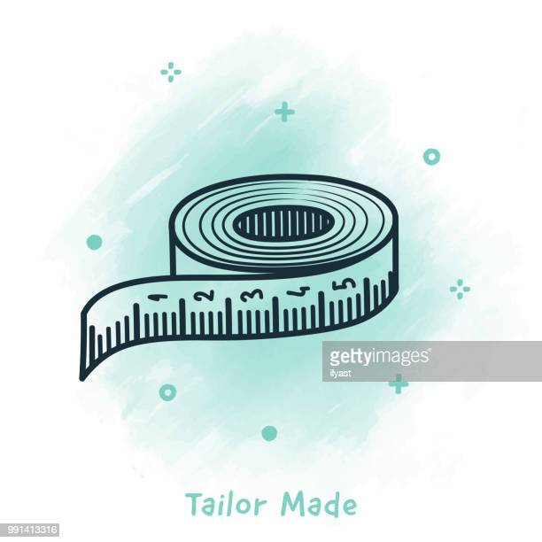 tailor made doodle watercolor background - meter unit of length stock illustrations