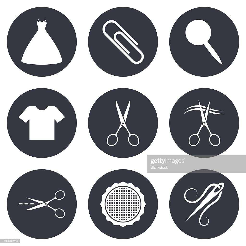 Tailor, sewing and embroidery icons. Scissors