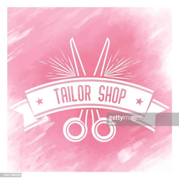 Tailor Shop Badge Watercolor Background