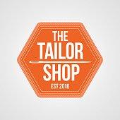 Tailor shop vector emblem