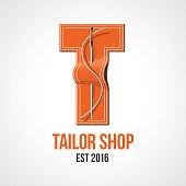 Tailor shop vector sign, emblem