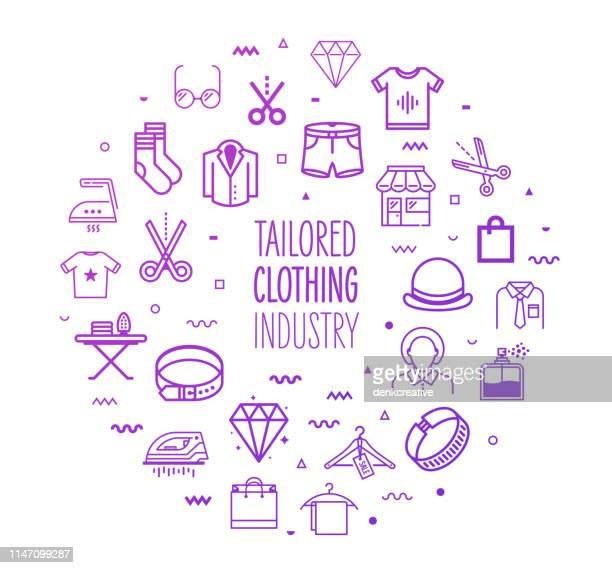 ilustraciones, imágenes clip art, dibujos animados e iconos de stock de diseño de la industria de ropa a medida esquema infográfico - boutique