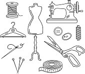 Tailoring Set Vector Illustration in Linear Style