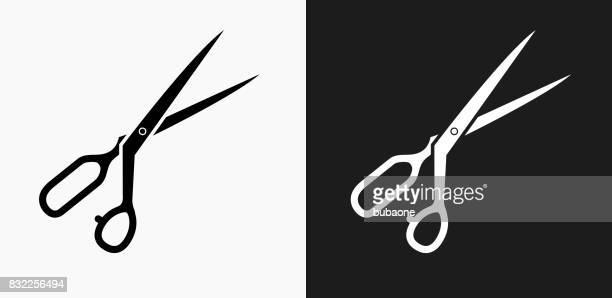 Tailor's Scissors Icon on Black and White Vector Backgrounds