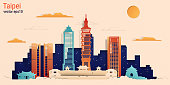 Taipei city colorful paper cut style, vector stock illustration